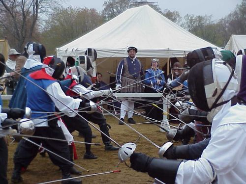 Rapier Melee at Night on the Town--Photo from Baronial Photo Album